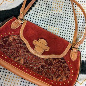 The Sak Shoulder Bag SO CUTE red velvet faux tan